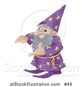 Vector Illustration of an Old Male Wizard Gesturing with His Hands by AtStockIllustration