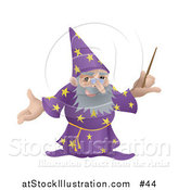 Vector Illustration of an Old Male Wizard Holding a Magic Wand by AtStockIllustration
