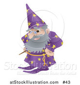 Vector Illustration of an Old Male Wizard with Magic Wand by AtStockIllustration