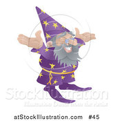 Vector Illustration of an Old Male Wizard with Standing wIth His Arms out by AtStockIllustration
