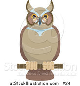 Vector Illustration of an Old Wise Owl Wearing Glasses, Perched on a Branch by AtStockIllustration