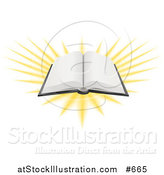 Vector Illustration of an Open Book with Blank Pages and Bright Light by AtStockIllustration
