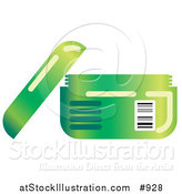 Vector Illustration of an Open Green Container of Face Cream or Body Lotion by AtStockIllustration