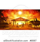 Vector Illustration of an Orange Toned Nativity Scene with Animals, Wise Men, the City of Bethlehem and Star of David by AtStockIllustration