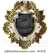 Vector Illustration of an Ornate Black and Gold Scroll Frame with Copyspace by AtStockIllustration