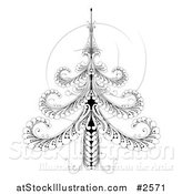 Vector Illustration of an Ornate Black and White Swirl Christmas Tree by AtStockIllustration