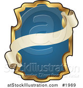 Vector Illustration of an Ornate Blue and Gold Banner Frame with Copyspace by AtStockIllustration