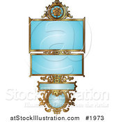 Vector Illustration of an Ornate Blue and Gold Floral Frame with Copyspace by AtStockIllustration
