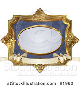 Vector Illustration of an Ornate Blue and Gold Frame with Copyspace by AtStockIllustration