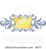 Vector Illustration of an Ornate Blue Branches and Golden Shield by AtStockIllustration