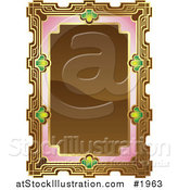 Vector Illustration of an Ornate Brown, Pink and Gold Frame with Copyspace by AtStockIllustration