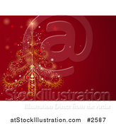 Vector Illustration of an Ornate Christma Stree on a Red Background by AtStockIllustration