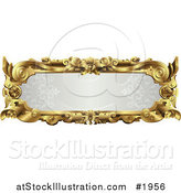 Vector Illustration of an Ornate Gray and Gold Frame with Copyspace by AtStockIllustration