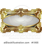 Vector Illustration of an Ornate Gray Oval and Gold Frame with Copyspace by AtStockIllustration