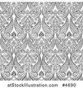 Vector Illustration of an Ornate Gray Seamless Art Nouveau Pattern Background by AtStockIllustration
