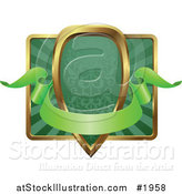 Vector Illustration of an Ornate Green and Gold Banner Shield Frame with Copyspace by AtStockIllustration