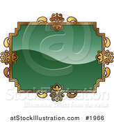 Vector Illustration of an Ornate Green and Gold Frame with Copyspace by AtStockIllustration