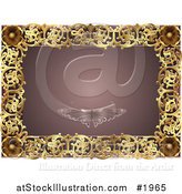 Vector Illustration of an Ornate Mauve and Gold Butterfly Frame with Copyspace by AtStockIllustration
