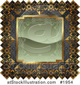 Vector Illustration of an Ornate Olive Green, Gray and Gold Frame with Copyspace by AtStockIllustration
