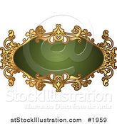 Vector Illustration of an Ornate Oval Green and Gold Frame with Copyspace by AtStockIllustration