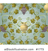Vector Illustration of an Ornate Purple Grape Vine and Urn Pattern Background by AtStockIllustration
