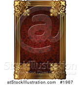 Vector Illustration of an Ornate Red Pattern and Gold Frame with Copyspace by AtStockIllustration