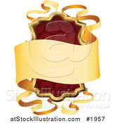 Vector Illustration of an Ornate Red Shield and Gold Banner Frame with Copyspace by AtStockIllustration