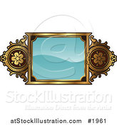 Vector Illustration of an Ornate Turquoise and Gold Frame with Copyspace by AtStockIllustration