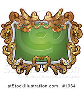 Vector Illustration of an Ornate White, Green and Gold Frame with Copyspace by AtStockIllustration