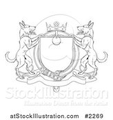 Vector Illustration of an Outlined Alsatian Coat of Arms Shield with a Collar by AtStockIllustration