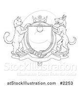 Vector Illustration of an Outlined Cat and Dog Heraldic Coat of Arms Shield by AtStockIllustration