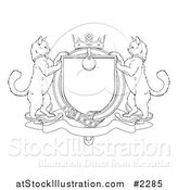 Vector Illustration of an Outlined Cat Coat of Arms Shield by AtStockIllustration