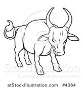 Vector Illustration of an Outlined Chinese Zodiac Bull by AtStockIllustration