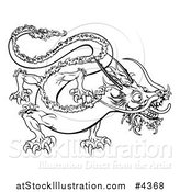 Vector Illustration of an Outlined Chinese Zodiac Dragon by AtStockIllustration