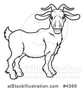 Vector Illustration of an Outlined Chinese Zodiac Goat by AtStockIllustration