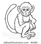 Vector Illustration of an Outlined Chinese Zodiac Monkey by AtStockIllustration