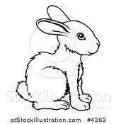 Vector Illustration of an Outlined Chinese Zodiac Rabbit by AtStockIllustration