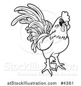 Vector Illustration of an Outlined Chinese Zodiac Rooster by AtStockIllustration