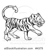 Vector Illustration of an Outlined Chinese Zodiac Tiger by AtStockIllustration