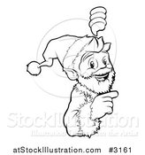 Vector Illustration of an Outlined Christmas Santa Pointing to and Looking Around a Sign by AtStockIllustration