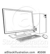 Vector Illustration of an Outlined Desktop Computer Work Station by AtStockIllustration