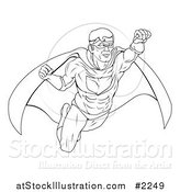 Vector Illustration of an Outlined Super Hero in Flight by AtStockIllustration