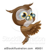 Vector Illustration of an Owl Wearing Glasses and Presenting a Sign by AtStockIllustration