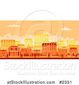 Vector Illustration of an Urban Avenue with Townhouses at Sunset by AtStockIllustration