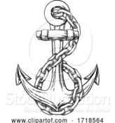 Vector Illustration of Anchor from Boat or Ship Tattoo Drawing by AtStockIllustration