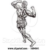 Vector Illustration of Ancient Greek or Roman Strong Guy by AtStockIllustration