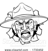 Vector Illustration of Angry Army Bootcamp Drill Sergeant by AtStockIllustration