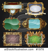 Vector Illustration of Antique and Retro Styled Ornate Frame Designs on Black by AtStockIllustration