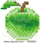 Vector Illustration of Apple Pixel Art 8 Bit Video Game Fruit Icon by AtStockIllustration
