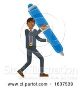 Vector Illustration of Asian Businessman Holding Pen Mascot Concept by AtStockIllustration